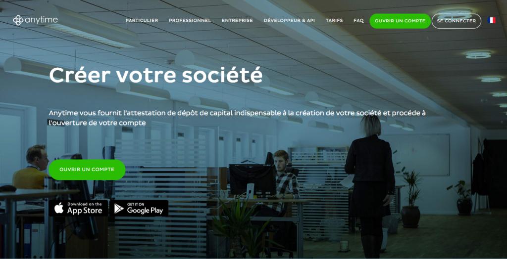 Anytime : dépôt de capital et attestation en ligne